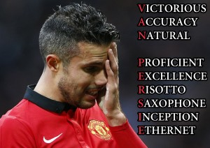 Manchester United's Robin van Persie reacts after losing to Newcastle United in their English Premier League soccer match at Old Trafford in Manchester